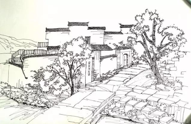 简单乡村风景素描画